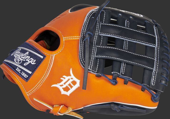 Thumb of a 2021 Detroit Tigers Heart of the Hide glove with the Tigers logo on the thumb - SKU: RSGPRO204W-6DET