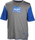 A gray/royal Rawlings adult Hurler performance short sleeve shirt with a royal Rawlings logo on the chest - SKU: HSSP-GR/R image number null