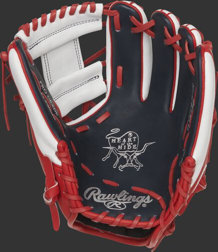 Navy palm of a Rawlings Washington Nationals HOH glove with silver stamping and scarlet laces - SKU: RSGPRO314-2WSH