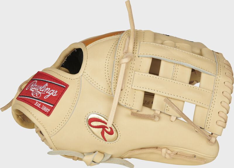 """Thumb of a Gameday 57 Series DJ LeMahieu Pro Preferred glove with a gold """"Oval-R"""" and camel H-web - SKU: PROSNP4-DJ26"""