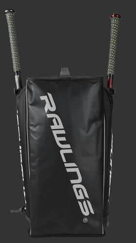 Bottom of a black R601 Hybrid backpack with a white Rawlings logo printed across the bottom