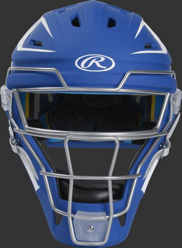 Front of a royal CHMACH Mach hockey-style senior catcher's helmet