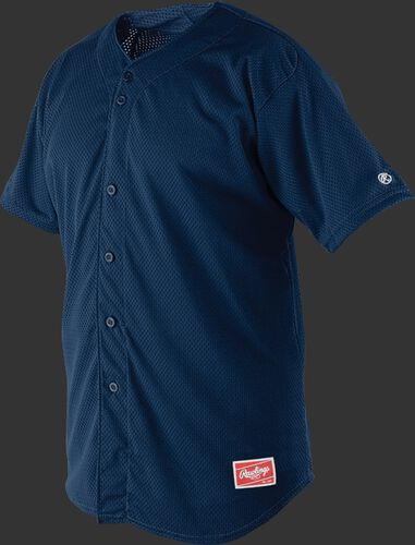 Front of Rawlings Navy Youth Short Sleeve Jersey  - SKU #YBJ167