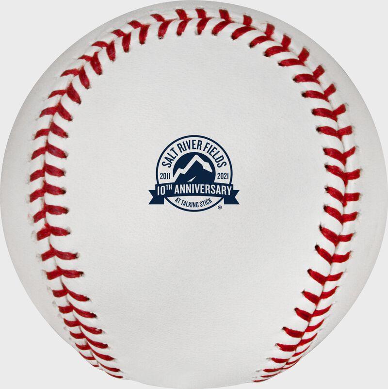 Salt River Fields 10 year anniversary logo stamped on a MLB baseball - SKU: EA-ROMLBSRF10-R