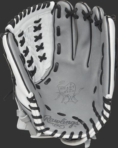 PRO125SB-18GW Rawlings 12.5-inch softball glove with a grey palm and black laces