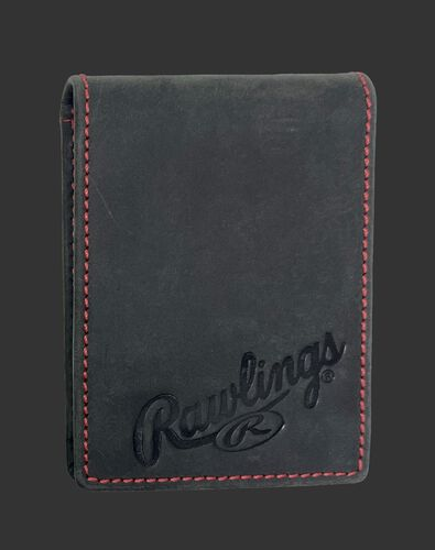 A black high grade debossed front pocket wallet with the Rawlings logo debossed in the bottom right - SKU: RPW006-001