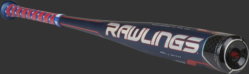 Angle view of a red, white & blue limited edition Velo ACP BBCOR bat with a white/red Rawlings logo – SKU: BBVRWB
