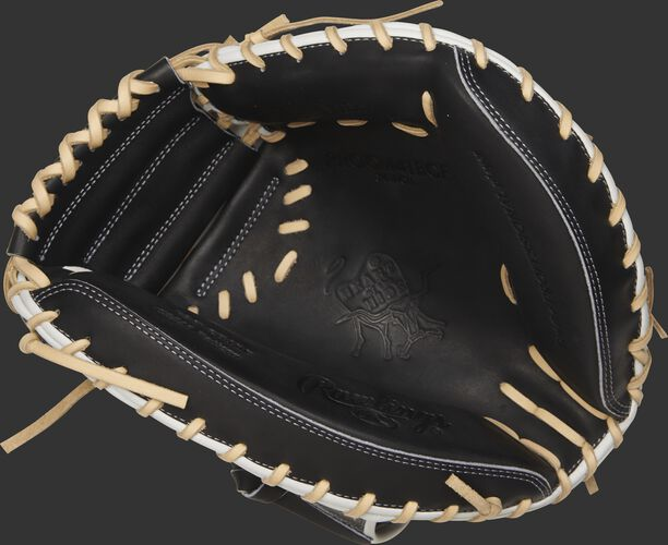 PROCM41BCF Rawlings Hyper Shell catcher's mitt with a black palm and camel laces