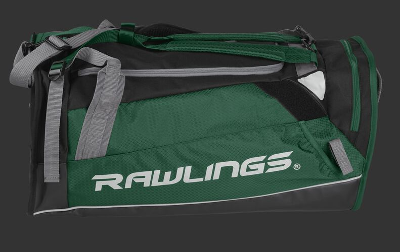 Side of a dark green R601 Hybrid backpack/duffel players bag with black trim and a white Rawlings logo on the bat sleeve