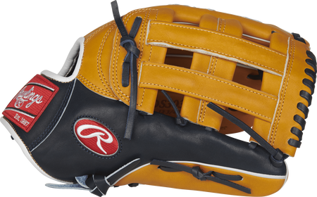 PROS3039-6TN 12.75-inch Rawlings Pro Preferred outfield glove with a navy/rich tan thumb and tan H web
