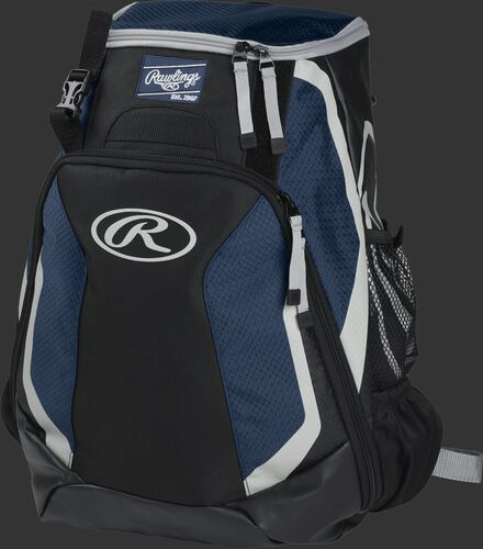 Left side of a black/navy R500 Players team backpack with white trim
