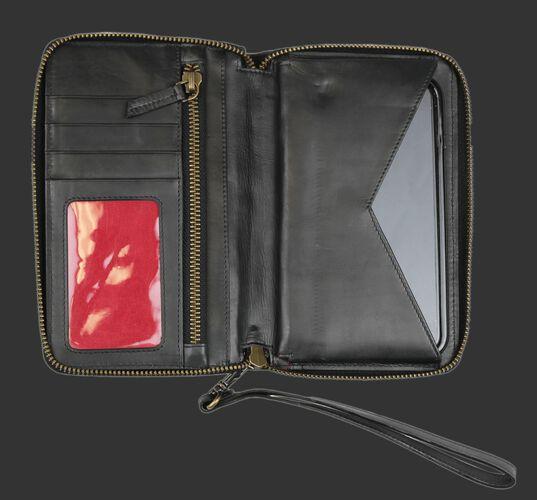 Inside of Rawlings Black Baseball Stitch iPhone Zip Wallet With Three Card Pockets, Zip Pocket, and Money Pocket SKU #RW80000-001