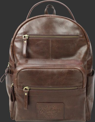 A brown RS10057-BRN Rugged medium backpack with two main compartments and two exterior zippered pockets