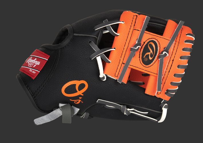 Thumb of a black/orange Baltimore Orioles 10-Inch team logo glove with an orange I-web and O's logo on the thumb - SKU: 22000018111