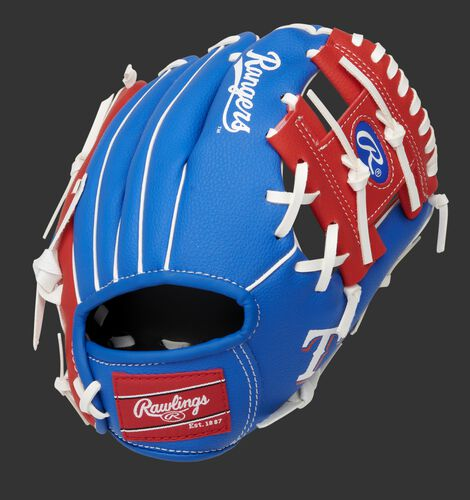 Back of a blue/red Texas Rangers 10-inch I-web glove with a red Rawlings patch - SKU: 22000022111