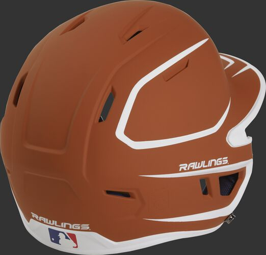 Back right of a two-tone matte orange/white MACH Rawlings senior size batting helmet