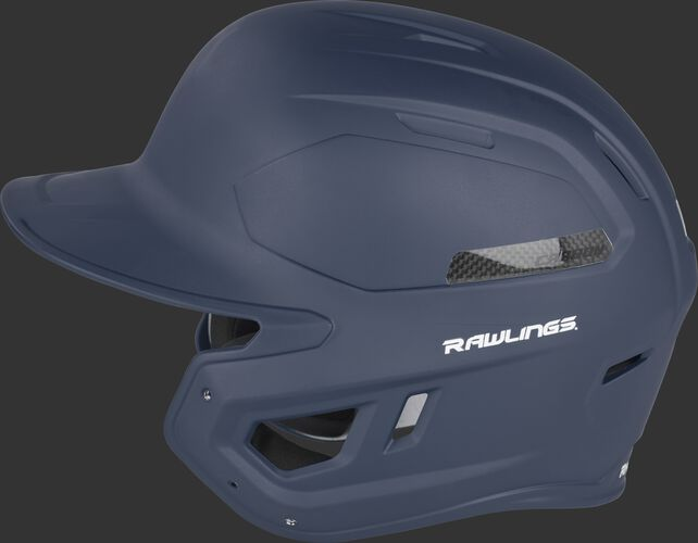 Left side of a CAR07A MACH Carbon batting helmet with a matte navy shell and carbon fiber plate insert