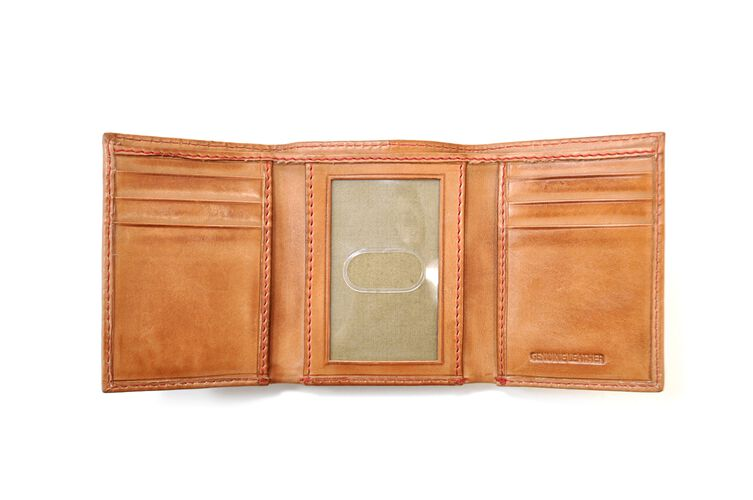 Inside of a tan MW478-204 Rawlings tri-fold wallet with multiple credit card slots and clear ID window in the middle