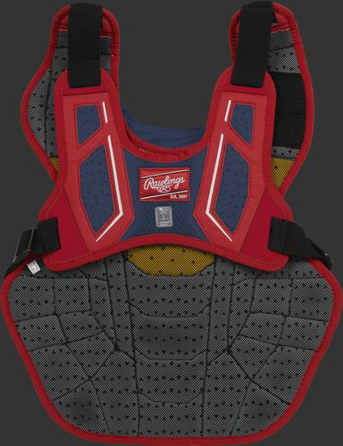 Back harness of a scarlet/navy CPV2N adult Velo 2.0 chest protector with Dynamic Fit System 2.0