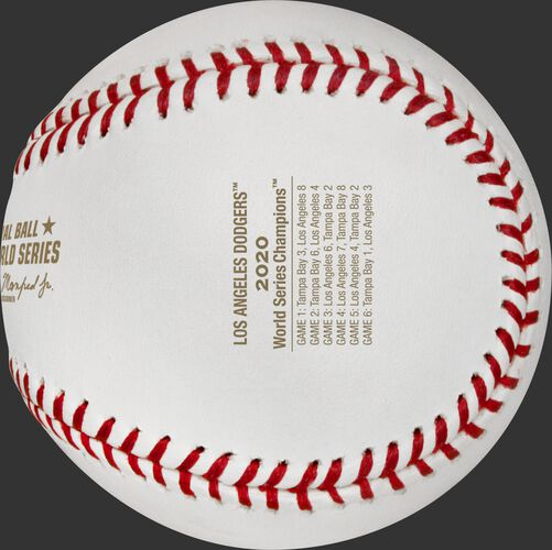 The game scores from each World Series game stamped on a LA Dodgers WS Champions ball - SKU: EA-WSBBCHMP20-R