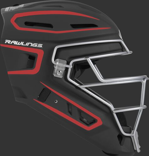 Right side of a black/scarlet CHV27J Velo 2.0 youth size catcher's helmet