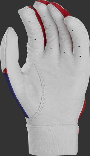 White palm of a red, white and blue Rawlings 5150 batting glove - SKU: BR51BG-USA