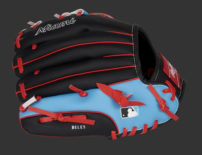 Back of a black/light blue Miami Marlins 10-inch youth glove with the MLB logo on the pinky - SKU: 22000016111