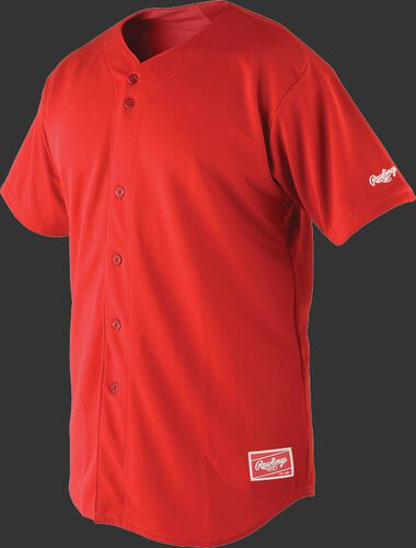 Front of Rawlings Scarlet Youth Short Sleeve Jersey  - SKU #YBJ150