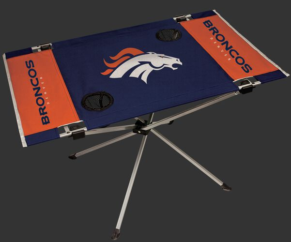Rawlings Navy and Orange NFL Denver Broncos Endzone Table With Two Cup Holders, Team Logo, and Team Name SKU #03391066111