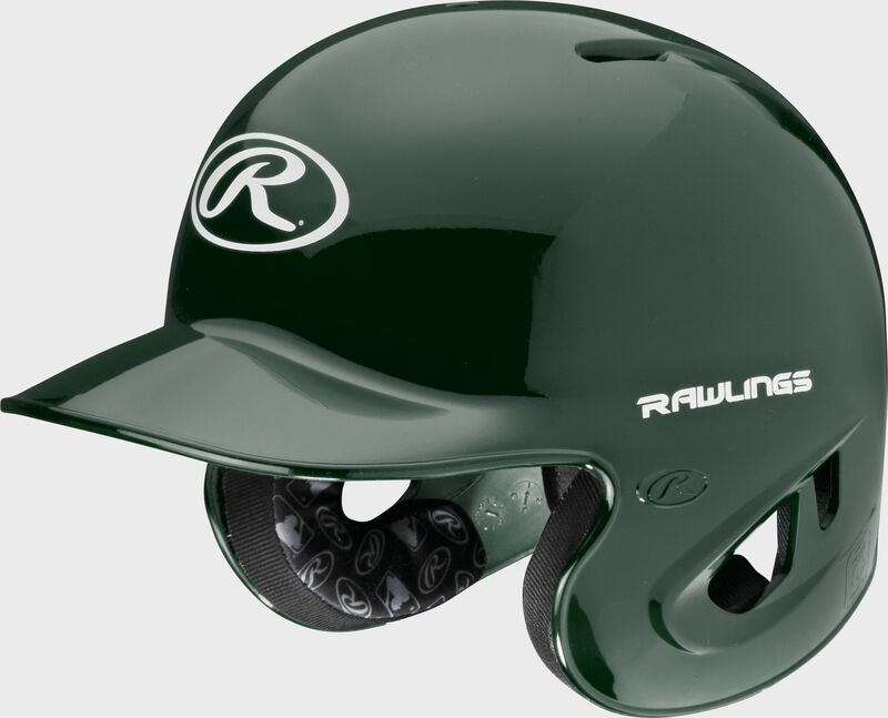 A dark green S90PA RPR high schoole/college batting helmet with a white Oval R logo on the front