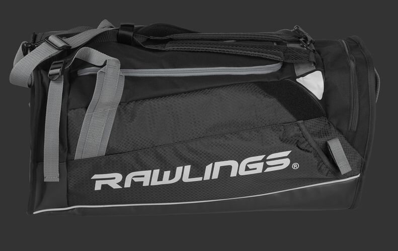 Side of a black R601 Hybrid backpack/duffel players bag with black trim and a white Rawlings logo on the bat sleeve