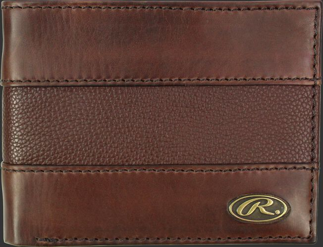 A brown RW80004-001 Bases Loaded bi-fold wallet folded close with a gold Oval R logo in the bottom right