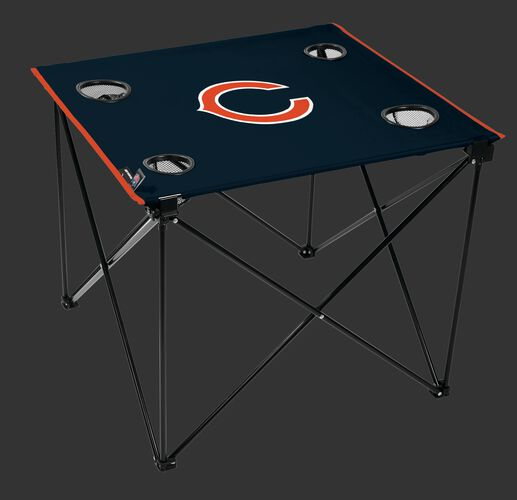 Rawlings Navy Blue NFL Chicago Bears Deluxe Tailgate Table With Four Cup Holders and Team Logo Printed In The Middle SKU #00701062111