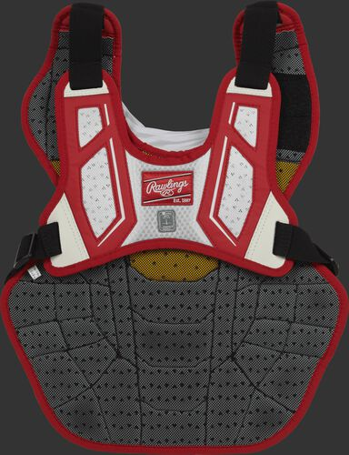 Back harness of a scarlet/white CPV2N intermediate Velo 2.0 chest protector with Dynamic Fit System 2.0
