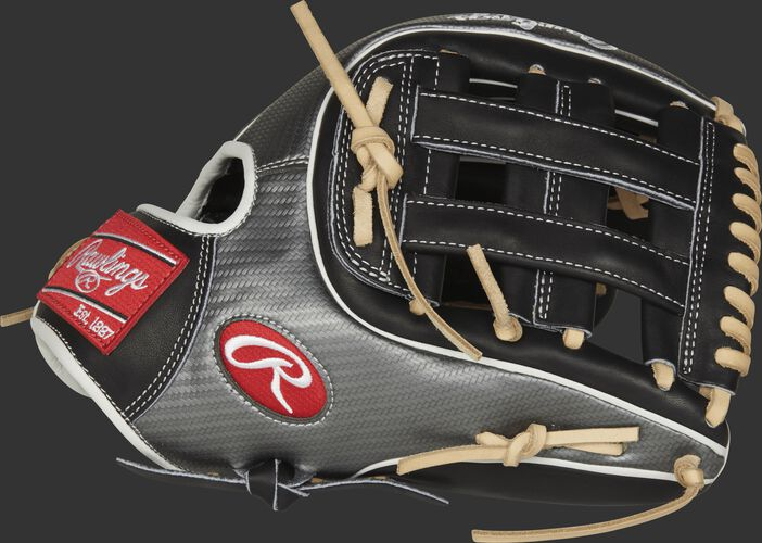 Thumb view of a PRO315-6BCF Rawlings Hyper Shell 11.75-inch infield glove with a black H web