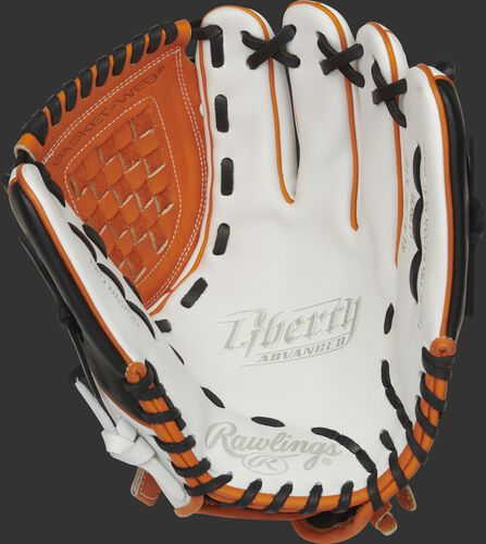 RLA120-3OB Rawlings Liberty Advanced Color Series glove with a white palm, orange web and black laces