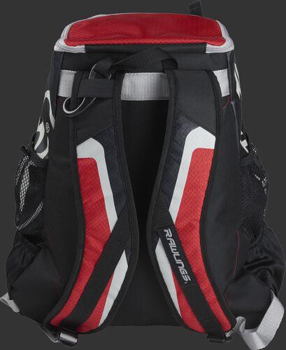 Back of black/scarlet R500 Players team backpack with black/scarlet shoulder straps
