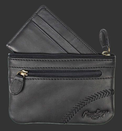 A black Baseball Stitch coin purse with a zippered pocket on the front - SKU: RS10013-001