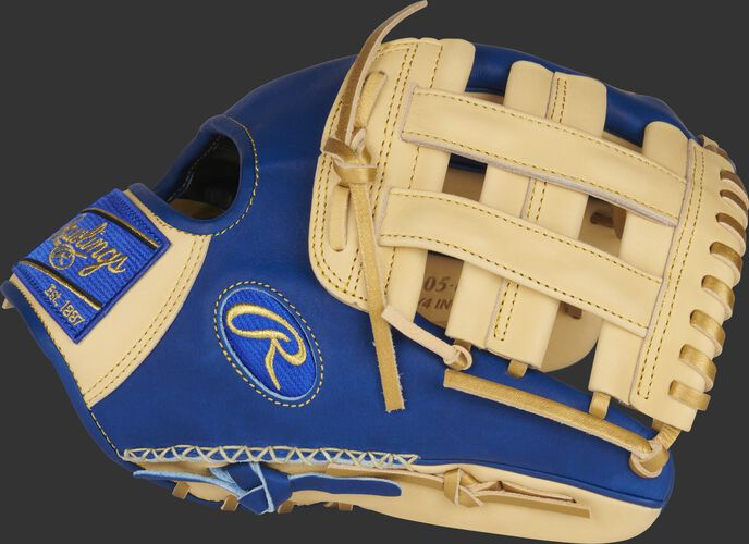 Thumb of a royal/camel Heart of the Hide ColorSync 5.0 11.75-Inch infield glove with a camel H-web - SKU: PRO205-6CRG