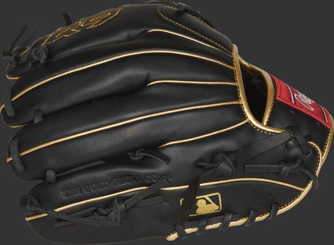 Black finger backs of a R9 series mod-trap web glove with the MLB logo on the pinkie - SKU: R9205-4BG