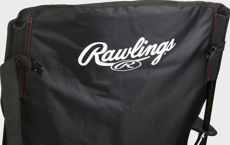 Black back of a Rawlings high back fold-up chair with a white Rawlings logo at the top - SKU: 00184043511