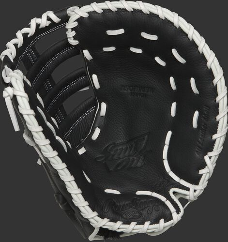 RSOFBMBW Rawlings Shut Out first base mitt with a black palm and white laces