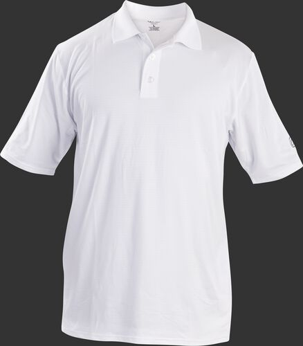 Front of Rawlings Adult White Short Sleeve Polo Shirt - SKU #GGPOLO