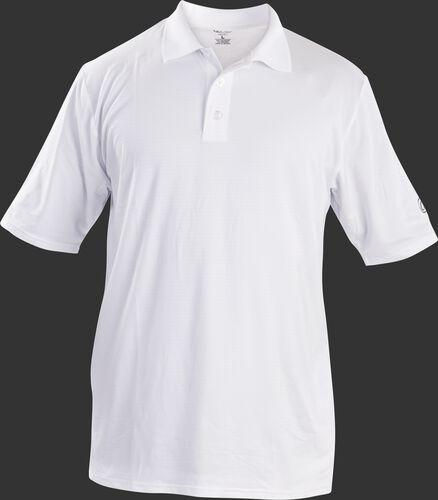 Front of Rawlings Adult White Short Sleeve Polo Shirt - SKU #GGPOLO