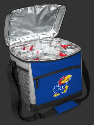 An open Kansas Jayhawks 24 can cooler filled with ice and drinks - SKU: 10223034111