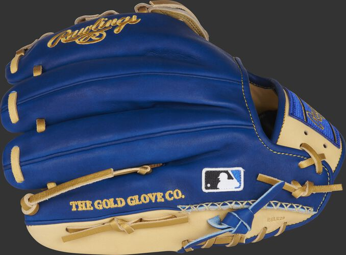 Royal back of a HOH ColorSync 5.0 11.75-Inch infield glove with HSW and MLB logo on the pinky - SKU: PRO205-6CRG