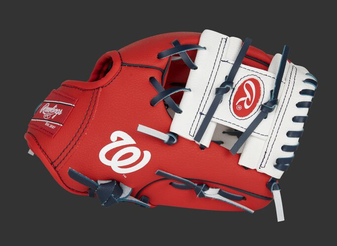 Thumb of a red/white Washington Nationals 10-inch team logo glove with a white I-web and Nationals logo on the thumb - SKU: 22000031111