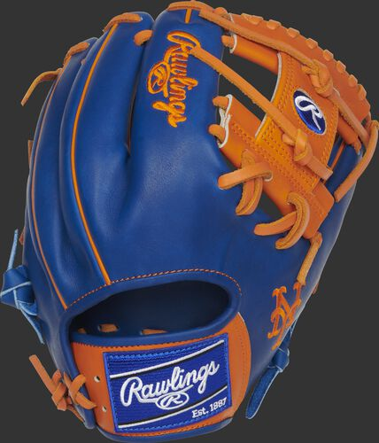 Royal back of a New York Mets Heart of the Hide I-web glove with a royal Rawlings patch - SKU: RSGPRO204-2NYM
