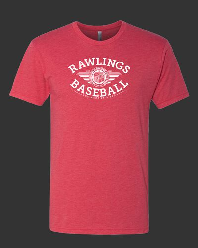 A heather scarlet Rawlings baseballs tri-blend t-shirt - SKU: RSGBT-HS