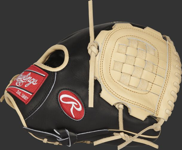 Thumb view of a PROR210-3BC Rawlings R2G 10.75-inch infield/pitcher's glove with a camel basket web